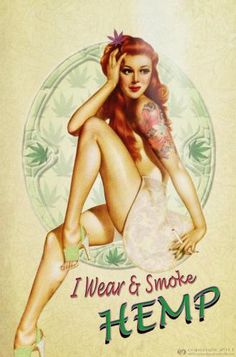 Vintage redhead marijuana pin up girl. Marijuana Art, Medical Marijuana, Cannabis Oil, Girl Smoking, Smoking Weed, Mary Janes, Herbal Vaporizer, Banners, Posters Vintage