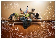 Fun idea for a creative family Christmas card with a sofa photoshopped put of it.