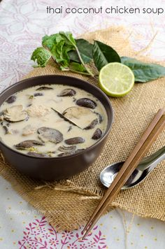 Thai Coconut Chicken Soup .... This is in my crockpot now ... smells SO GOOD. #recipe #thaifood
