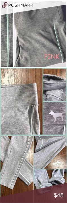 🔹PINK YOGA VS Pants w/Mascot Dog Logo NWOT XS 🔹PINK Yoga Victoria's Secret-Size XS-Gray straight leg pants with dog logo.  NWOT-Wide waist band with key pocket in the back.  Mint green stripes that accent these great quality pants.  Perfect for tweens. Please see pics for more information including measurements & care. ~Reasonable Offers Welcome~ ~Thanks. Deb😎 PINK Victoria's Secret Pants