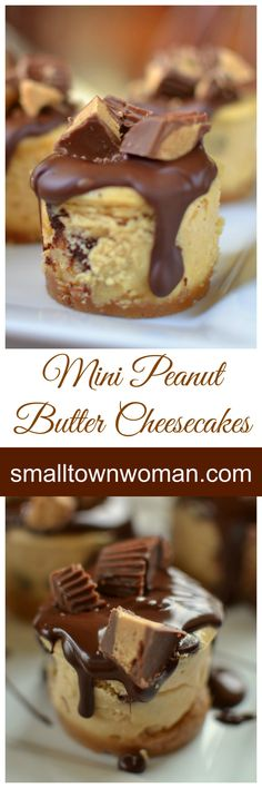 These mini cheesecakes are wonderful in all kinds of ways. First and foremost they are peanut butter and who doesn't love peanut butter? They are topped with a drop of delicious Ghirardelli chocolate and Reese's mini peanut butter cups. Mini Desserts, Desserts Keto, Peanut Butter Desserts, Peanut Butter Cheesecake, Just Desserts, Delicious Desserts, Yummy Food, Health Desserts, Mini Cheesecake Recipes