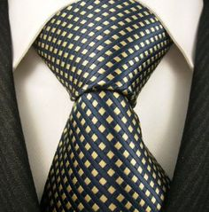 Neckties By Scott Allan 100% Woven Tie, Navy Blue Yellow Neckties (Diamond)