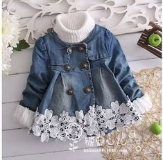Trendy Sewing Baby Jacket Children – Best for Kids Little Girl Outfits, Toddler Outfits, Baby Outfits, Baby Girl Dresses, Baby Dress, Baby Girl Fashion, Kids Fashion, Denim And Lace, Baby Sewing