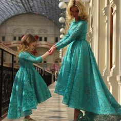 New Arabia Daughter And Mother Dresses Dark Teal Jewel Ball Gown With Long Sleeves Hi Lo Evening Dress Plus Size Flower Girls Dresses