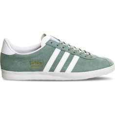 ADIDAS Gazelle OG suede trainers ($105) ❤ liked on Polyvore featuring shoes, sneakers, legend green, rubber sole shoes, adidas trainers, green sneakers, round toe sneakers and laced shoes