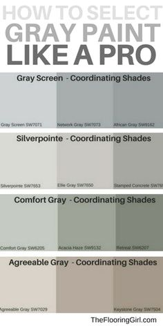 are the most popular shades of gray paint? How to select the best shade of gray paint and a matching accent wall. Most popular gray paints.How to select the best shade of gray paint and a matching accent wall. Most popular gray paints. Paint Colors For Living Room, Paint Colors For Home, Bedroom Paint Colors, Painting Accent Walls, Gray Living Room Walls, Basement Wall Colors, Painting Wood Paneling, Popular Paint Colors, Farmhouse Paint Colors