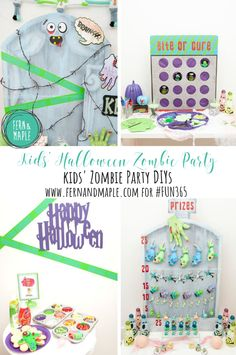 Kids' Halloween Zombie Party - all the details and DIYs at fernandmaple.com #fun365 #halloweenparty #partyideas #diy #halloween #kidsparty #parties #themedparties
