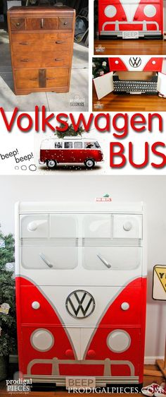 An Art Deco waterfall chest of drawers makes the perfect Volkswagen Bus. This time around it's all about that RED by Prodigal Pieces http://www.prodigalpieces.com #prodigalpieces