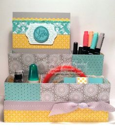 Eastern Elegance Desk Set! www.craftprojectcentral.com It's time to get organized!  In this project you will create a desk organizer and two decorated notepads to help clean up your desk area.  This is perfect to keep for yourself or give as a gift!