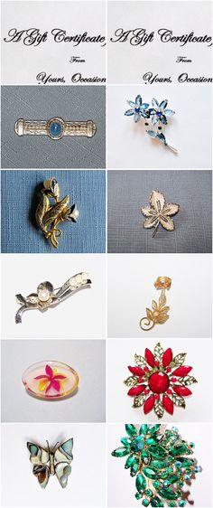 Gift Certificates! Buy Brooches!