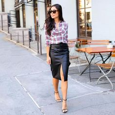 Pin for Later: 29 Ways to Wear Plaid Without Looking Like a Lumberjack Dressed Up With a Leather Skirt and Sleek Heels