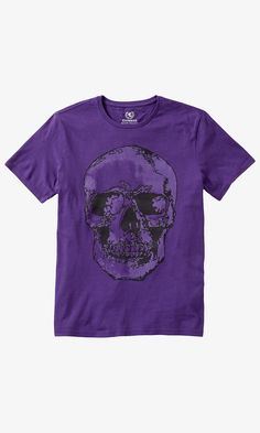 57b0adad Purple Skull Crew Neck Graphic T-shirt   Express Crew Neck, Kiss, Collar