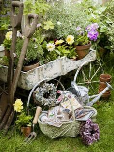 Primitive Garden Tools & Cart...