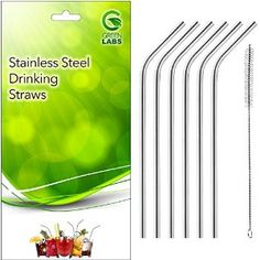 Amazon.com: GreenLabs Stainless Steel Drinking Straws, Reusable, Set of 6 + Cleaning Brush: Health & Personal Care