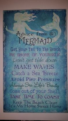 This Fun Mermaid Advice Sign is printed on canvas over a wood frame Measurements: 16 height x 10 width x 1 depth Mermaid Bedroom, Mermaid Nursery Theme, Mermaid Bathroom Decor, Just In Case, Just For You, Mermaid Art, Mermaid Sign, Mermaid Canvas, Mermaid Quotes