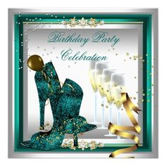Zizzago Invitations / High Heel Shoes Champagne Jade Gold Silver ||