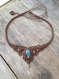 Macrame boho elven necklace tiara with Oval Labradorite FREE local SHIPPING You will receive 1 macrame necklace of similar design with your