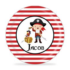 Pirate Plate - Red Boy Pirate Melamine Personalized Plate. 1 Personalized Melamine Plate - makes a Great Kids Gift ~ I Design and Customize, You Give the Perfect Gift! ~ These Personalized Plates are a perfect way to spice up every meal time! Your little one will always enjoy seeing their name on their plate. Watch your Child light up, when they see their plate coming! This will become the new go-to for meal time! This is perfect for all ages and makes a great present for any child. This...