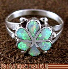 Sterling Silver Ring Opal Flower Zuni Indian Jewelry