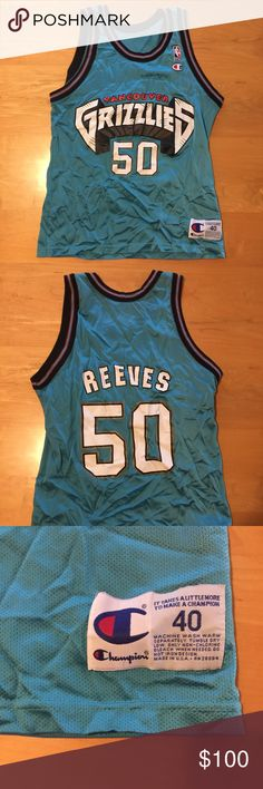 "Vintage Champion USA Made Bryant Reeves Jersey Jersey of Bryant ""Big Country"" Reeves of the defunct franchise The Vancouver Grizzlies. Jersey is in excellent condition. No cracks or tears. Champion Shirts Tank Tops"