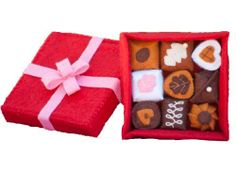 Fancy Doll Candy Playset by PenPalGirls. $28.00. The doll candy box is an 11 piece set and contains 9 chocolates, a square box, and a square lid with an intricate bow.. Each piece of the doll candy is embroidered with detailed stitching. Yummy dolls food for all of your dolls!. Comes gift-wrapped ready in our Pen Pal inspired packaging. The chocolates are made with a soft felt material and filled with plush stuffing.. It's a yummy, doll candy play set for any d...