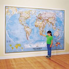 World Classic Wall Map, Mural | National Geographic Store