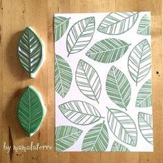 Timbri fai da te a forma di foglia intagliati nella gomma | DIY leaves stamp made with rubber • #DIY #stamp #rubber