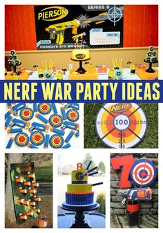 Plan a Nerf Birthday Party with these Incredible Nerf Party Ideas. Get awesome ideas for decorations, food, party supplies, cakes and more. 7th Birthday Party Ideas, 10th Birthday, Birthday Party Invitations, Boys Party Ideas, Dessert Party, Nerf Party Food, Party Favors, Party Time, Nerf Gun