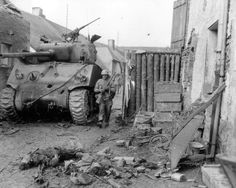 This Sherman tank of the 778th Tank Battalion was knocked out by three hits fired by two Hetzers on March 6th 1945. Picture taken in Lampaden, Germany, March 9th 1945.