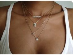 Layered necklaces with a white tank and jeans? Weekend casual. #MyVSFallEdit