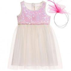 Billieblush - Ivory & Pink Tulle Dress & Hairband   Childrensalon