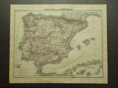 "1874 large antique map of Spain and Portugal - beautiful original vintage old poster -  el viejo mapa de España y Portugal Espagne - 19x24"" by DecorativePrints on Etsy"