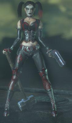 I like Harley Quinn, even in her mourning state. But I like the original Arkham City Design of Harley. Batman Arkham Games, Harley Tattoos, Batman Girl, Talia Al Ghul, Daddys Lil Monster, Joker And Harley Quinn, Fanart, Marvel Dc Comics, Gotham City
