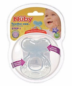 Nuby Teethe-eez Teether - blue, one size by Nuby. $3.99. Made in China. 100% Silicone. BPA Free. 0M+. This Teethe-eez teether ring from Nuby is uniquely designed with baby in mind. The wide textured handle is easy for baby to grab onto. A soft silicone teething plate features gentle massage pads that comfort and stimulate baby's gums. 0M+ BPA Free 100% Silicone Made in China