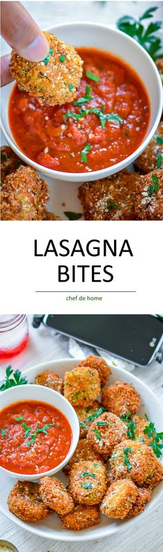 Lasagna Bites - deep fried crispy lasagna pieces with marinara sauce. A delicious and easy appetizer to serve for movie or game night! Appetizers For Party, Appetizer Recipes, Snack Recipes, Cooking Recipes, Party Snacks, Brunch Recipes, Bite Size Appetizers, Christmas Appetizers, Pastry Recipes