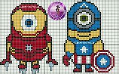 Iron Man and Cap minions cross stitch.