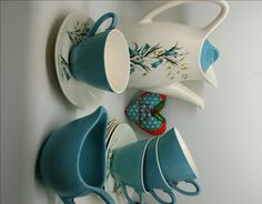 Midwinter Stylecraft Bluebell Coffee Set 4 Cups Saucers Coffee Pot and Milk Jug/ 1950s Turquoise Coffee Set /Midcentury Retro Atomic Shape by RetroandRitzy on Etsy