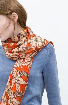 Morpheus Boutique  - Orange Pattern Raw Edge Trims Pattern Cotton Shawl Long Scarf Wrap, $39.99 (http://www.morpheusboutique.com/new-arrivals/orange-pattern-raw-edge-trims-pattern-cotton-shawl-long-scarf-wrap/)