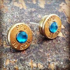 Bullet earrings aquamarine blue crystal 38 special brass bullet casing shell ear rings shooter hunter outdoors gift