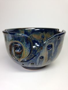 Blue Knitting Bowl, Ceramic Yarn Bowl, Crochet Bowl, Blue and Gold, Yarn Holder, Handmade Pottery, Gifts for Knitters, Pottery Yarn Bowl by RehnWorks on Etsy