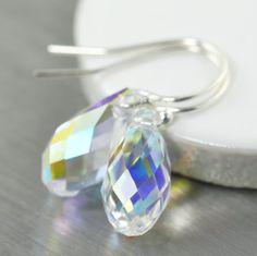 Diamond birthstone earrings featuring sparkling Diamond Swarovski crystal faceted tear drops. shopsouthpaw.com