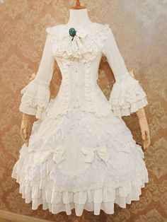 Lolita Wedding Dress 2-piece Set Lolita Outfit Chiffon Lace Ruffled Bow Hime Sleeve Lolita Dress