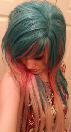 light blue and pink wig emo girl scene punk gothic raver bangs ombre long on Etsy, $129.99