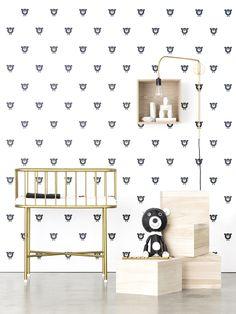 Acne Jr wallpaper. Modern nursery, black and white nursery, metal bassinet, monochrome nursery, boys nursery, girls nursery, vintage nursery, retro nursery