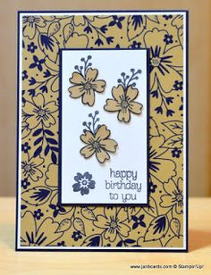 JanB Handmade Cards Atelier: Affectionately Yours  USING Affectionately Yours Specialty Designer Series Paper (DSP) , The flowers on this DSP match up brilliantly with the Love & Affection Stamp Set and also the Bloomin' Love Stamp Set and  Night of Navy Cardstock.  INKS USED  Night of Navy ,  Crumb Cake  ,