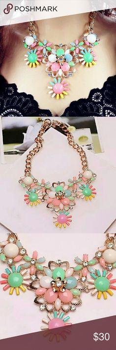 colorful flower statement choker necklace colorful flower statement choker necklace Jewelry Necklaces