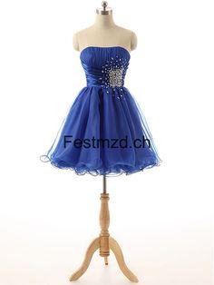 Dunkel Königsblau Perlen A-Linie Organza Abendkleider