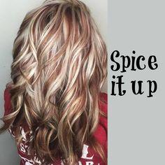 Blonde hair, copper highlights