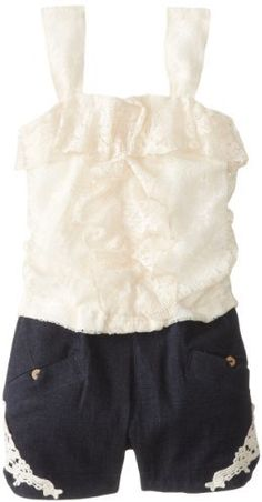 My Michelle Big Girls' Lace Romper with Crochet Detail on shopstyle.com