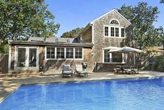 Sag Harbor 5 - house rental - Heated oversized pool and stone deck. Die Hamptons, Hamptons New York, Stone Deck, Beach Houses For Rent, Explore Travel, Renting A House, Great Places, Ideal Home, Kitchens